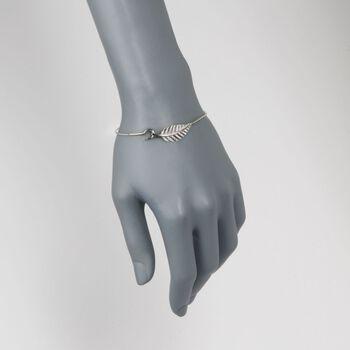 """.25 ct. t.w. CZ Leaf Bangle Bracelet in Sterling Silver. 8"""", , default"""