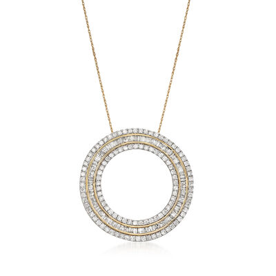 3.00 ct. t.w. Diamond Open Eternity Circle Pendant Necklace in 14kt Yellow Gold, , default