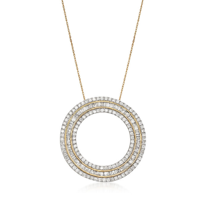 "3.00 ct. t.w. Diamond Open Eternity Circle Pendant Necklace in 14kt Yellow Gold. 18"", , default"