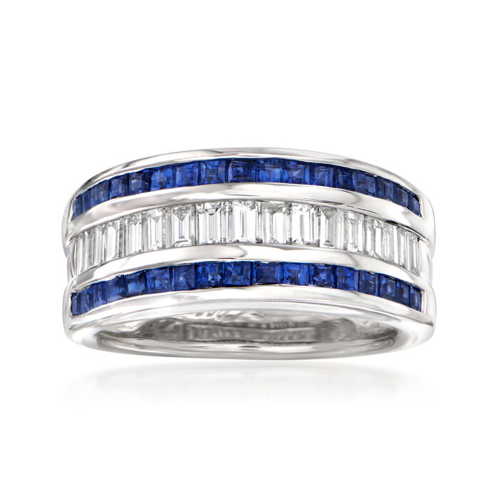 C. 1990 Vintage 1.06 ct. t.w. Sapphire .78 ct. t.w. Diamond Ring in 18kt White Gold. Size 6.25