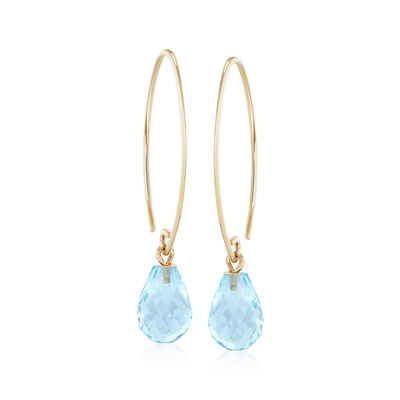 7.50 ct. t.w. Blue Topaz Earrings in 14kt Yellow Gold, , default