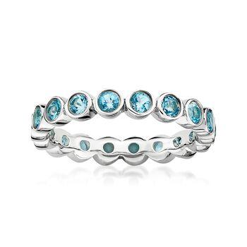 1.20 ct. t.w. Bezel-Set Blue Topaz Eternity Band in Sterling Silver, , default