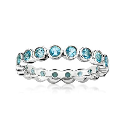 1.20 ct. t.w. Bezel-Set Blue Topaz Eternity Band in Sterling Silver, , default