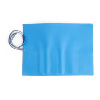 Royce Light Blue Leather Makeup Brush Roll