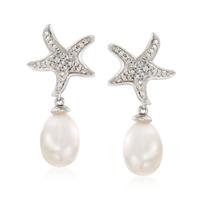 6-7mm Cultured Pearl and White Topaz-Accented Starfish Drop Earrings in Sterling Silver