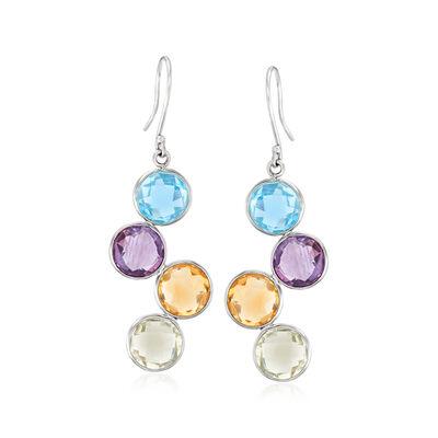 14.00 ct. t.w. Multi-Gemstone Drop Earrings in Sterling Silver