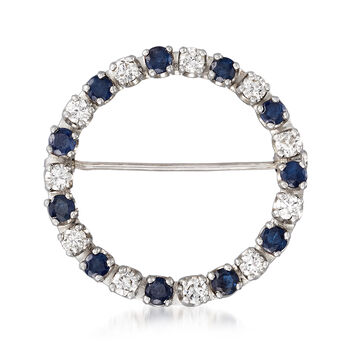 C. 1980 Vintage .65 ct. t.w. Diamond and .90 ct. t.w. Sapphire Open-Circle Pin in 14kt White Gold