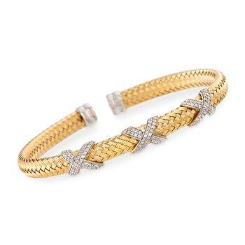 """Charles Garnier """"Asolo"""" Italian 1.20 ct. t.w. CZ Cuff Bracelet in Two-Tone Sterling Silver. 7"""", , default"""