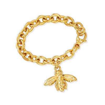 Italian Andiamo 14kt Yellow Gold Bee Charm Bracelet