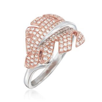 "Simon G. ""Garden"" .53 ct. t.w. Diamond Leaf Ring in 18kt Two-Tone Gold"