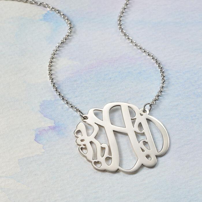 Sterling Silver Large Monogram Necklace