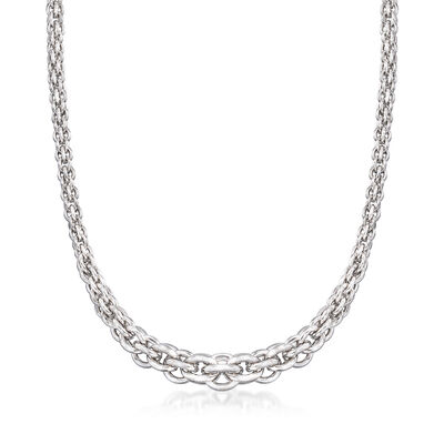 Italian Sterling Silver Multi-Circle Link Necklace, , default