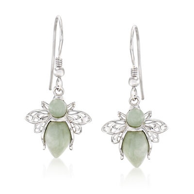 Jade Bumble Bee Drop Earrings in Sterling Silver