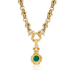 "C. 1990 Vintage Green Chalcedony and 18kt Two-Tone Gold Double Link Necklace. 18.25"", , default"