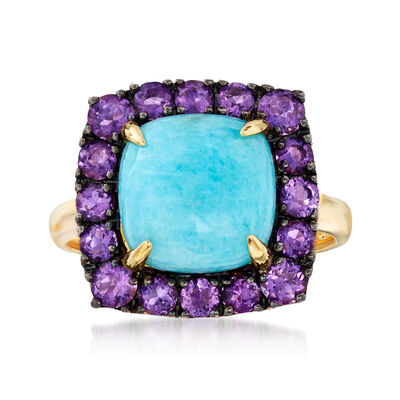 Amazonite and 1.00 ct. t.w. Amethyst Ring in 14kt Yellow Gold