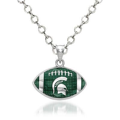 "Sterling Silver Michigan State University Spartan Enamel Football Pendant Necklace. 18"""