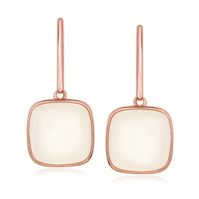 Cabochon Moonstone Drop Earrings in 18kt Rose Gold Over Sterling, , default
