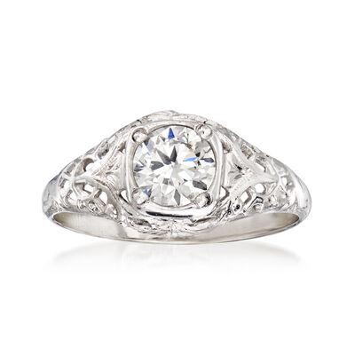 C. 1960 Vintage .65 Carat Diamond Filigree Ring in 18kt White Gold