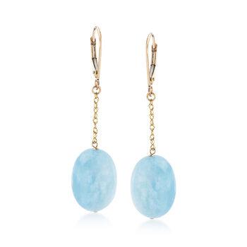 40.00 ct. t.w. Aquamarine Drop Earrings in 14kt Yellow Gold, , default