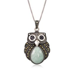 "Green Jade and Marcasite Owl Pendant Necklace With Black Onyx in Sterling Silver. 18"", , default"