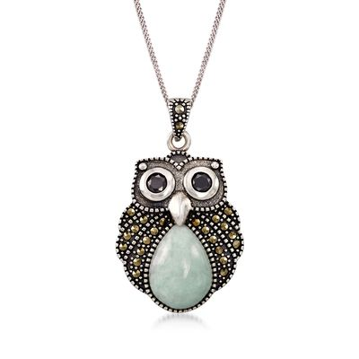 Green Jade and Marcasite Owl Pendant Necklace with Black Onyx in Sterling Silver, , default