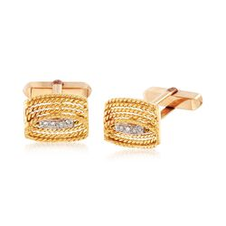 C. 1980 Vintage Men's 14kt Yellow Gold Cuff Links With .12 ct. t.w. Diamonds, , default