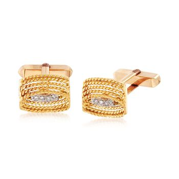 C. 1980 Vintage Men's 14kt Yellow Gold Cuff Links With .12 ct. t.w. Diamonds , , default