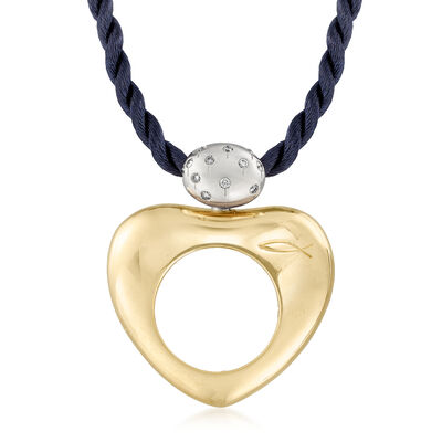 C. 1990 Vintage La Nouvelle Bague .20 ct. t.w. Diamond Heart Cord Necklace in 18kt Two-Tone Gold, , default