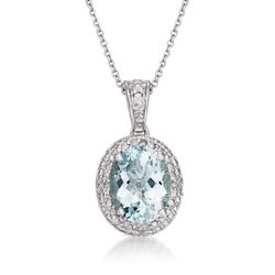 "1.50 Carat Aquamarine Pendant Necklace With Diamonds in Sterling Silver. 18"", , default"