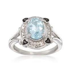 1.60 Carat Aquamarine Ring With Black and White Diamond Accents in Sterling Silver, , default