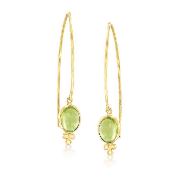 Mazza 3.60 ct. t.w. Peridot Drop Earrings in 14kt Yellow Gold