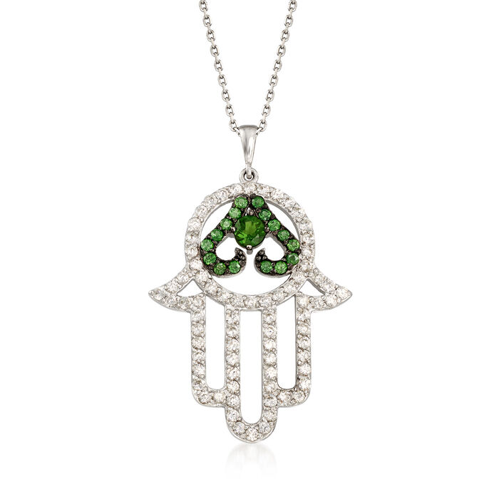 """2.50 ct. t.w. White Topaz and 1.10 ct. t.w. Green Diopside Hamsa Pendant Necklace in Sterling Silver. 18"""""""