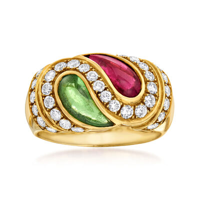 C. 1980 Vintage 1.84 ct. t.w. Green and Pink Tourmaline and .81 ct. t.w. Diamond Yin-Yang Ring in 18kt Yellow Gold, , default