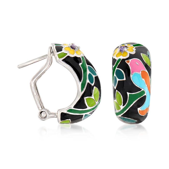 "Belle Etoile ""Song Bird"" Multicolored Enamel Hoop Earrings with CZ Accents in Sterling Silver"