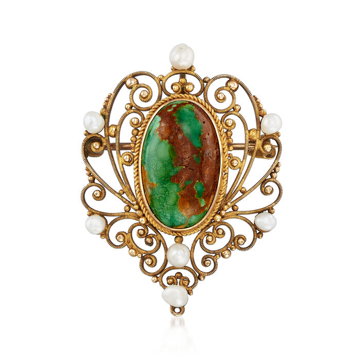 C. 1950 Vintage Turquoise Filigree Pin/Pendant in 14kt Yellow Gold