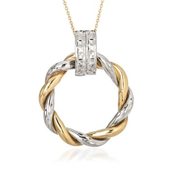 "14kt Two-Tone Gold Twisted Circle Doorknocker Pendant Necklace. 16"", , default"