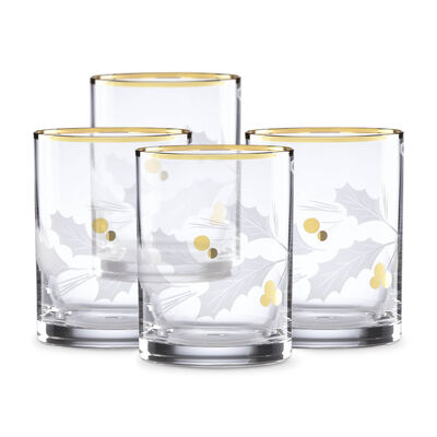 "Lenox ""Holiday"" Set of 4 Gold Double Old- Fashioned Glasses, , default"