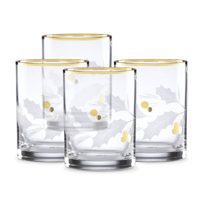 """Lenox """"Holiday"""" Set of 4 Gold Double Old- Fashioned Glasses, , default"""