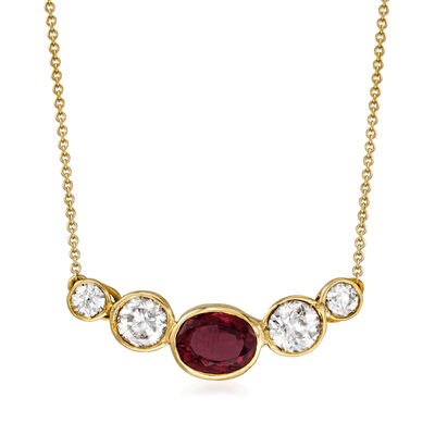 C. 1980 Vintage 1.55 Carat Ruby and 1.55 ct. t.w. Diamond Necklace in 14kt Yellow Gold