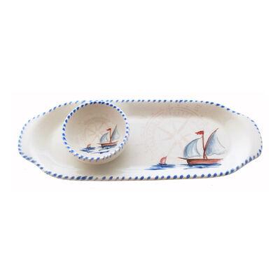 Abbiamo Tutto Italian Sailboat Ceramic Set: Narrow Tray and Mini Dipping Bowl, , default