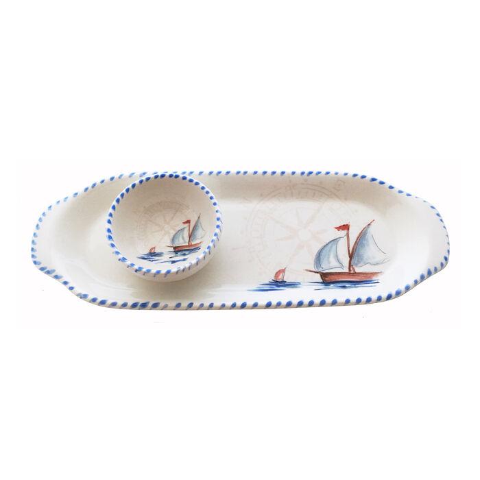 Abbiamo Tutto Italian Sailboat Ceramic Set: Narrow Tray and Mini Dipping Bowl
