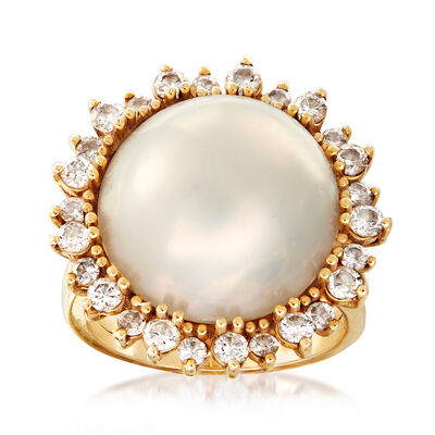C. 1980 Vintage 16mm Cultured Mabe Pearl and 1.05 ct. t.w. Diamond Frame Ring in 14kt Yellow Gold, , default