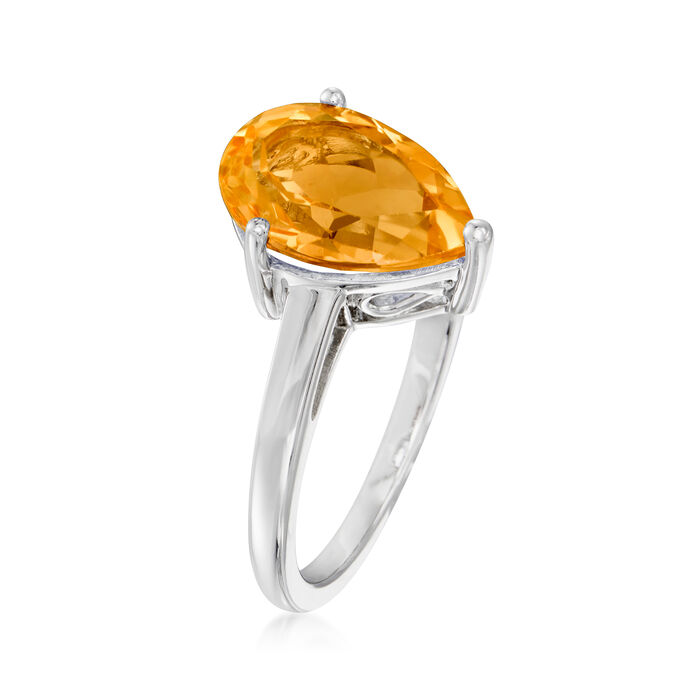 2.80 Carat Pear-Shaped Orange Citrine Ring in Sterling Silver