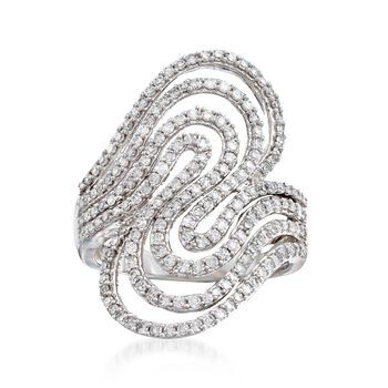 1.00 ct. t.w. Diamond Swirl Ring in 14kt White Gold, , default
