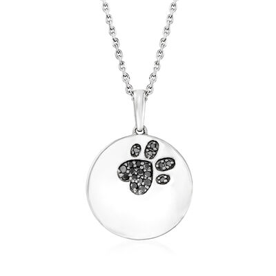 Black Diamond-Accented Paw Print Pendant Necklace in Sterling Silver
