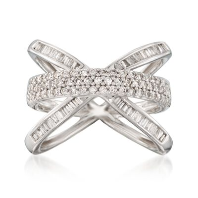.98 ct. t.w. Diamond Crisscross Ring in 14kt White Gold, , default