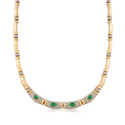C. 1980 Vintage 3.00 ct. t.w. Emerald and 3.00 ct. t.w. Diamond Necklace in 14kt Yellow Gold, , default