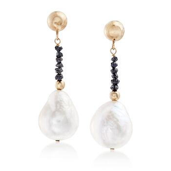 11-12mm Cultured Pearl and .71 ct. t.w. Black Diamond Bead Drop Earrings in 14kt Gold , , default