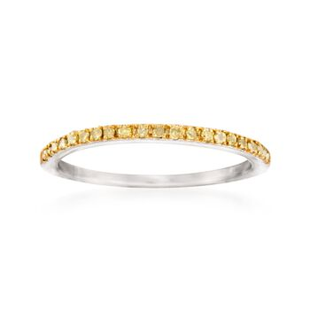 .15 ct. t.w. Yellow Diamond Anniversary Ring in Sterling Silver, , default