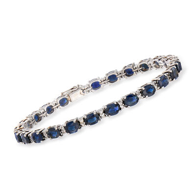 C. 1980 Vintage 10.00 ct. t.w. Sapphire and .50 ct. t.w. Diamond Bracelet in 14kt White Gold, , default